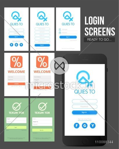 Material Design, UI, UX presentation of different creative Login Screens for Mobile Apps.