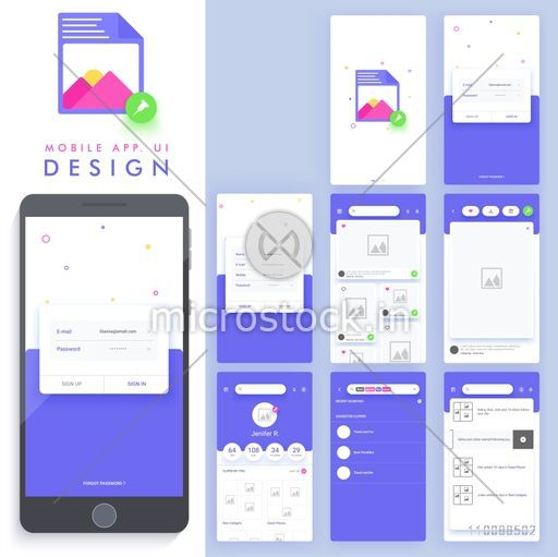 Material Design, UI, UX, GUI template for mobile apps, responsive websites with Sign In, Sign Up and Search Screens.