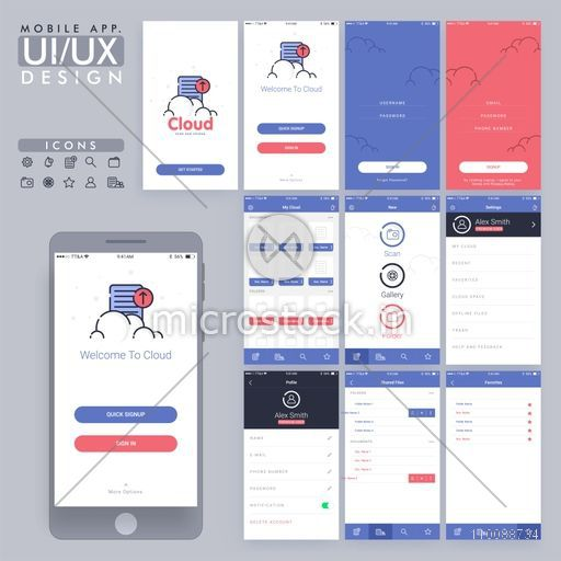 Mobile App UI, UX, GUI design for responsive website and e-commerce business with Sign In, Sign Up, Setting, Profile and Shared File Screens.
