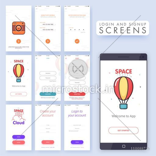 Different Mobile Login and Sign Up Screens set. Creative Material Design, UI, UX and GUI template for e-commerce business concept.