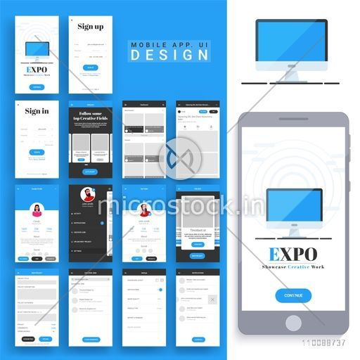 Material Design, UI, UX, GUI for mobile apps and e-commerce business with Sign Up, Sign In, Start, Dashboard, Profile, Project, Search, Setting and Notification Screens.
