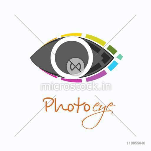 Stylish colorful eye symbol for photography concept on white background.