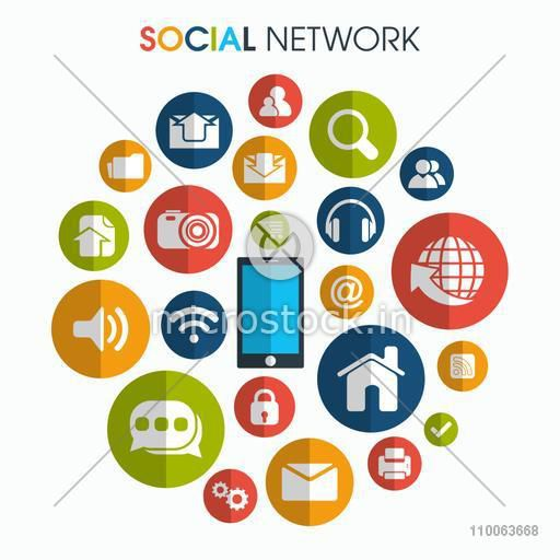 Colorful social media and networking icons.