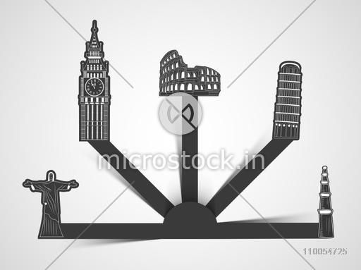 Beautiful presentation of world famous monument with space for your text or message for Tour and Traveling concept on shiny grey background.