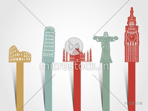 World famous monument presentation for Tour and Traveling concept on shiny grey background.