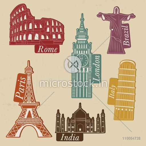 World famous monuments on beige background for Tour and Travel concept.