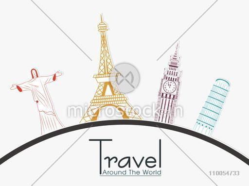 Famous monuments around the world showing world traveling on white background.