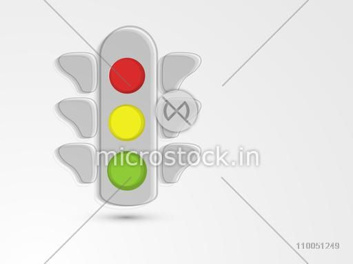 Stylish Traffic lights red, yellow and green for traffic signal on shiny grey and silver background.