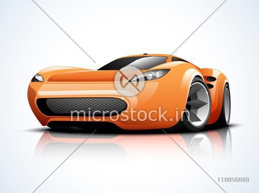 Glossy high speed sports car design on shiny background.