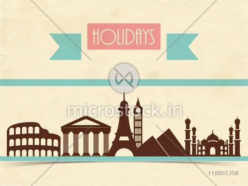 Stylish text of Holidays with seven wonders of the word on shiny beige grungy background.