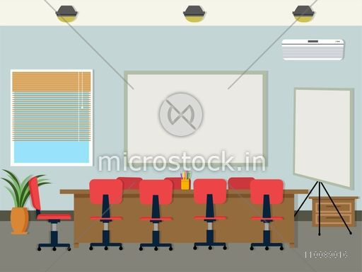 Conference Room interior design in flat style.