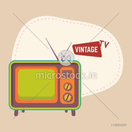 Retro television with antina and space for your text on beige background.