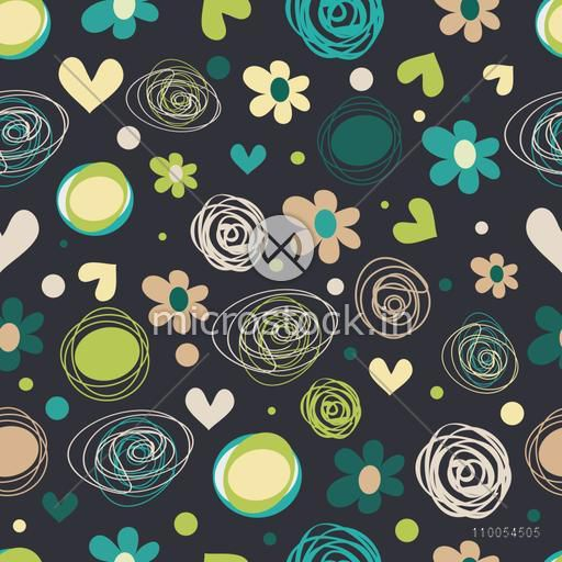 Retro seamless pattern with flowers, doodle spiral and hearts.