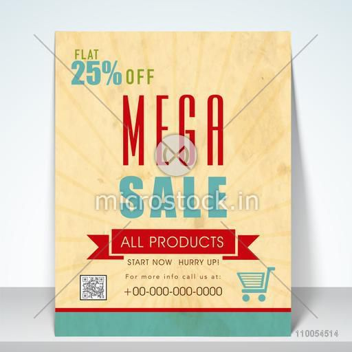 Mega sale flyer, poster or template design with 25% discount offer.