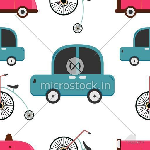 Seamless pattenr of retro car and penny farthing.
