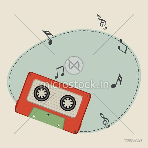 Cassette with musical notes and space for your message.