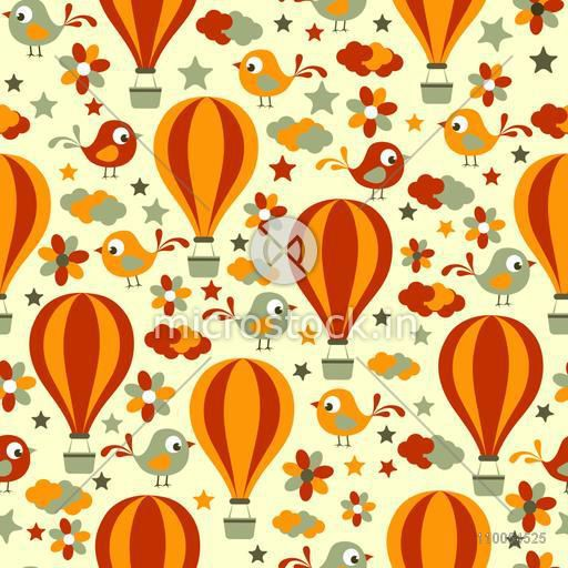 Retro seamless pattern with birds, flowers, clouds and hot air balloons.