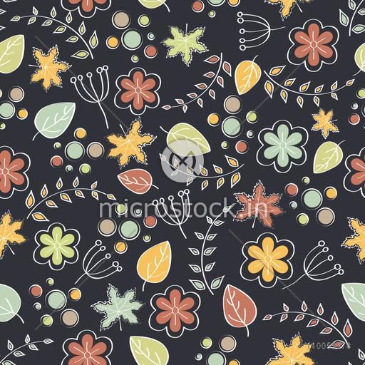 Retro seamless pattern of autumn leafs on grey background.