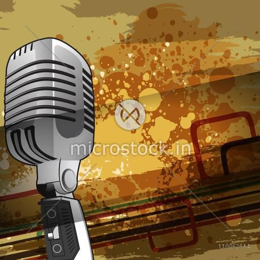 Vintage colorful splash background with illustration of microphone.