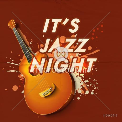 Poster banner or invitation for jazz night party celebration with poster banner or invitation for jazz night party celebration with creative glossy guitar on colorful stopboris Choice Image