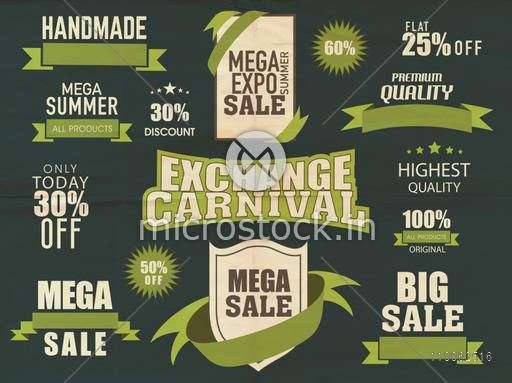 Stylish typographic collection of big summer sale with discount offer.