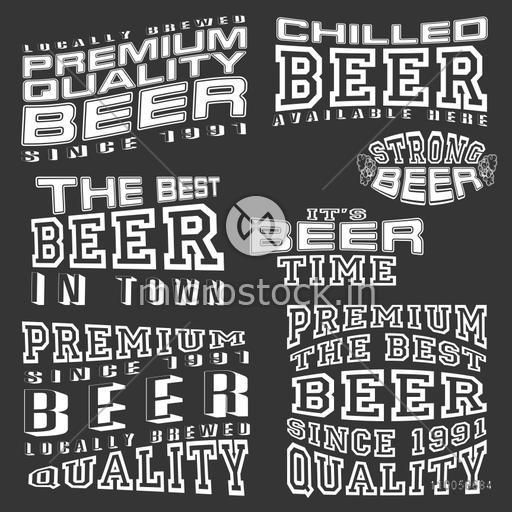 Stylish vintage typographic collection or labels for Premium Quality Beer, Beer Bars and Pubs.
