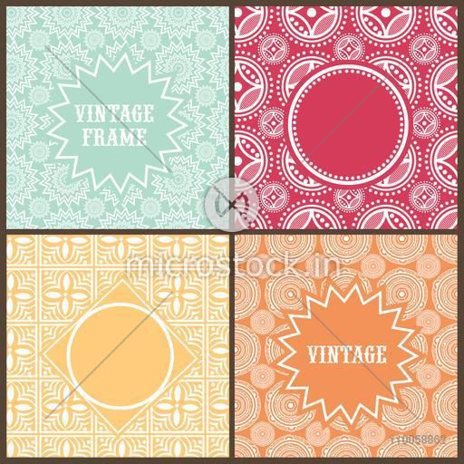 Collection of stylish blank frames on colorful floral patterns decorated background.
