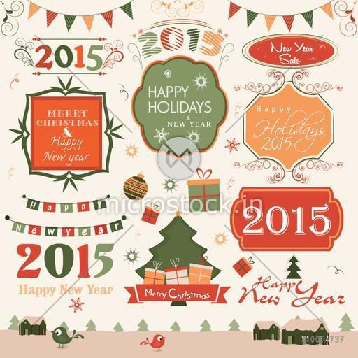 Happy New Year and Merry Christmas celebration label, sticker or tag with colleciton of ornaments.