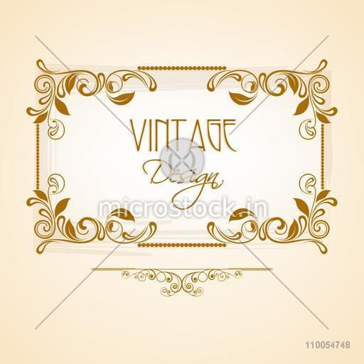 Vintage frame with creative beautiful floral design on shiny background.