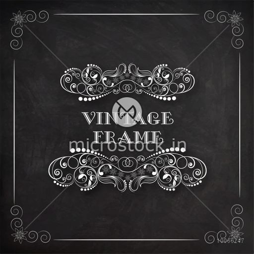 Stylish vintage frame with creative floral design on blackboard background, can be used as greeting card or invitation card design.