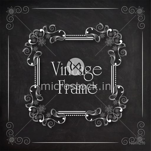 Beautiful square shape frame decorated by floral design on blackboard background.