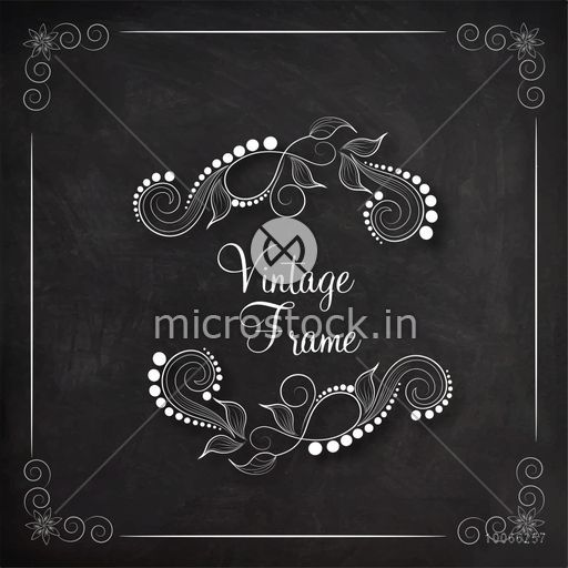 Stylish floral design decorated vintage frame created by white chalk on blackboard background.