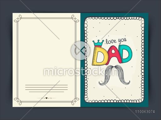 Stylish Greeting Card Design With Colorful Text Dad In Crown And Mustache For Happy Fathers