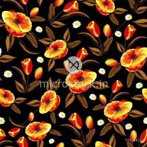 Creative shiny flowers decorated beautiful seamless pattern.