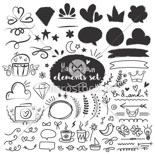 Big set of hand drawn doodle elements, Florals, Ribbons, Speech Bubbles and various objects, Creative Line art vector illustration.