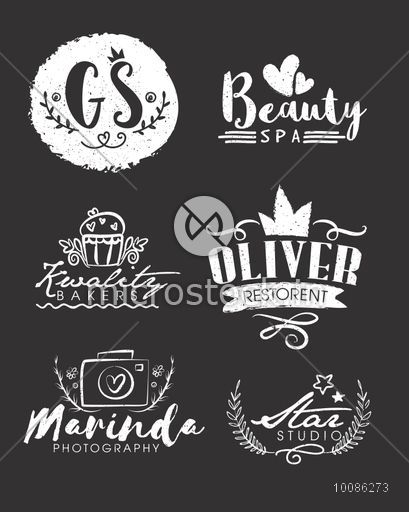 Creative hand drawn typographic set, Inscription or lettering design for business, Calligraphy or typography elements, Can be used as sticker, tag, label, print or web, Doodle style illustration.