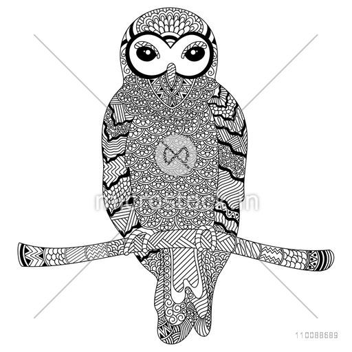 Creative zentangle style Owl Bird with ethnic floral doodle pattern. Hand drawn illustration for adult antistress coloring page.