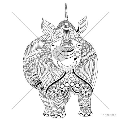 Creative hand drawn doodle illustration of Rhinoceros with ethnic floral pattern for adult anti stress coloring page.