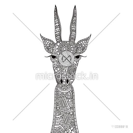 Hand drawn doodle style illustration of a Giraffe with ethnic floral pattern and zentangle elements for adult coloring book.
