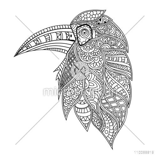 Ethnic floral patterned Hornbill Bird in hand drawn doodle style. Creative illustration for adult anti stress coloring book.
