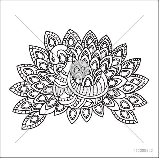 Creative hand drawn doodle illustration of Peacock with ethnic floral pattern for adult anti stress coloring page.