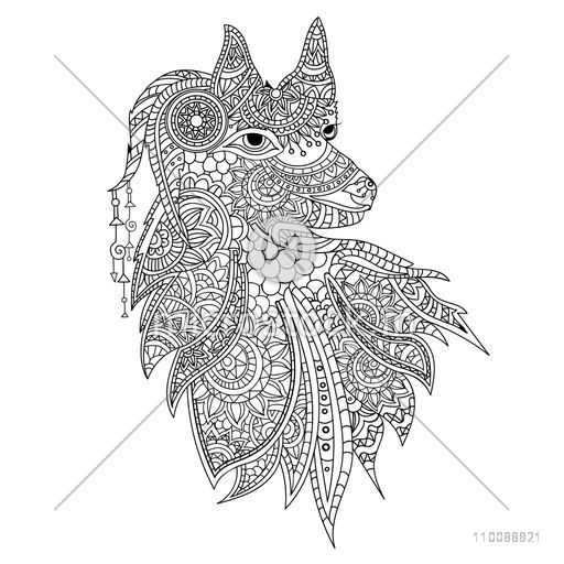 Creative zentangle style Wolf with ethnic floral doodle pattern. Hand drawn illustration for adult antistress coloring page.
