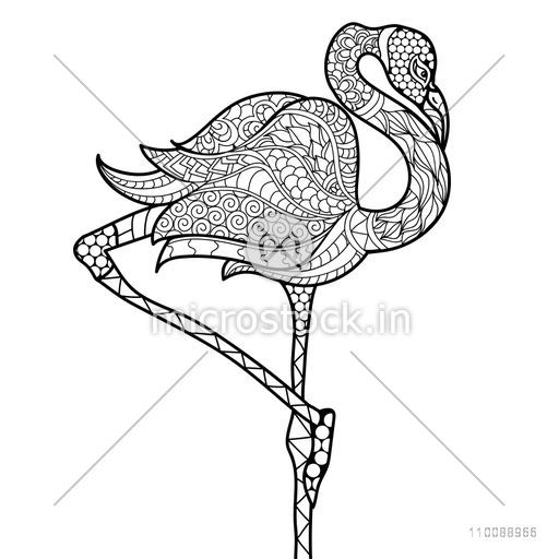 Creative hand drawn doodle style illustration of Crane Bird with beautiful ethnic floral pattern.