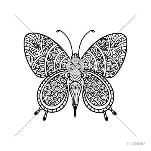 Hand drawn black and white illustration of Butterfly with ethnic floral ornaments in doodle style for anti stress coloring page, tattoo and decoration.