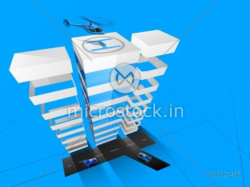3D concept of building construction, architecture designing concept