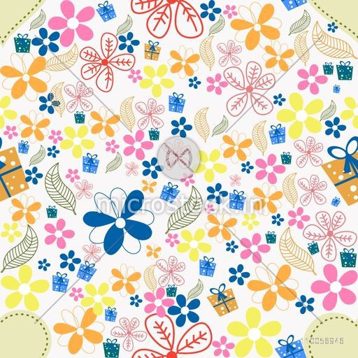 Beautiful pattern with colorful flowers, leaves and gifts.