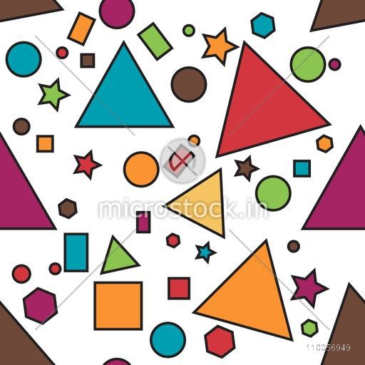 Abstract pattern with different geometrical shapes on white background.