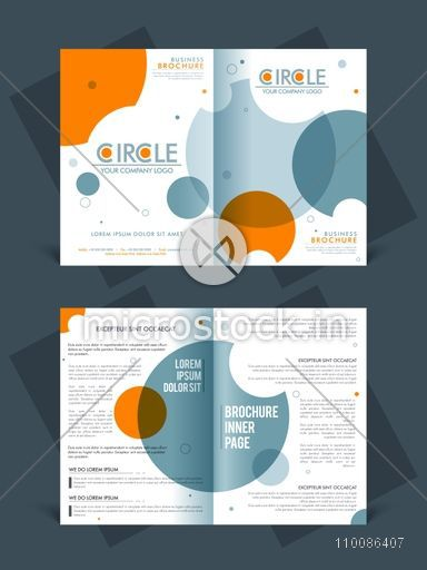 two page brochure template or flyer layout for business reports and