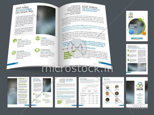 Creative brochure cover design presentation, Professional template layout with infographic elements and space for images, Vector flyers set for Business concept.