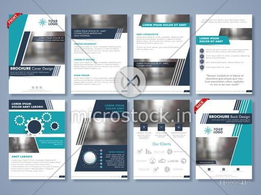Creative brochure cover design, Professional template layout with front, inner and back pages presentation, Business flyers set with space to add images.
